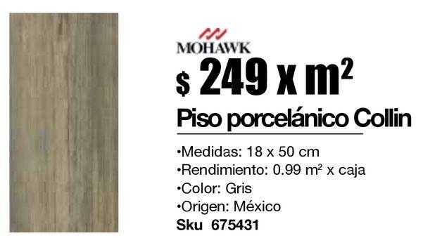 Oferta de Piso Collin Gray 18X50Cm .99 por $249