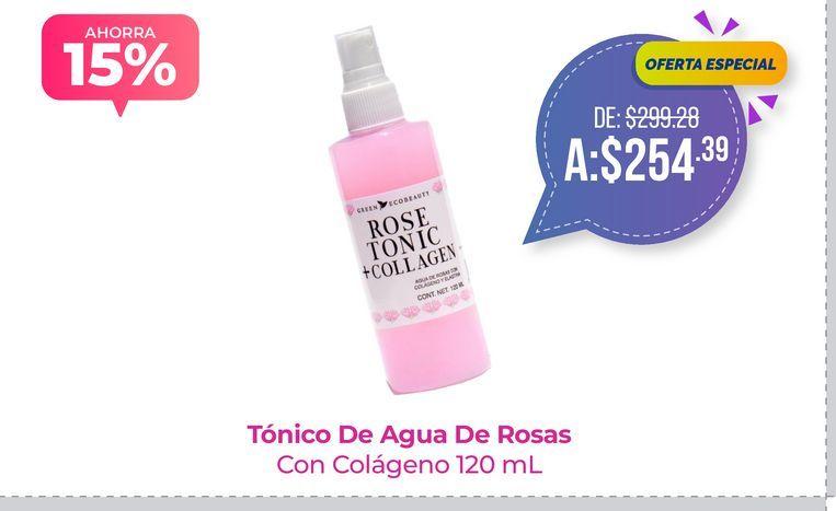 Oferta de Tónico De Agua De Rosas Con Colágeno 120 mL por $254.39