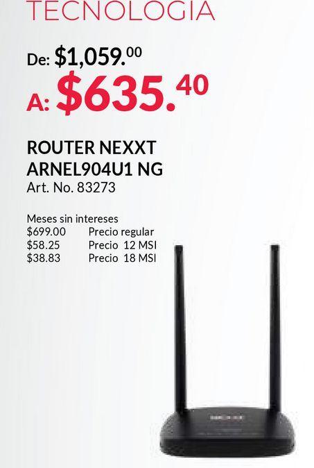 Oferta de Router nexxt por $635