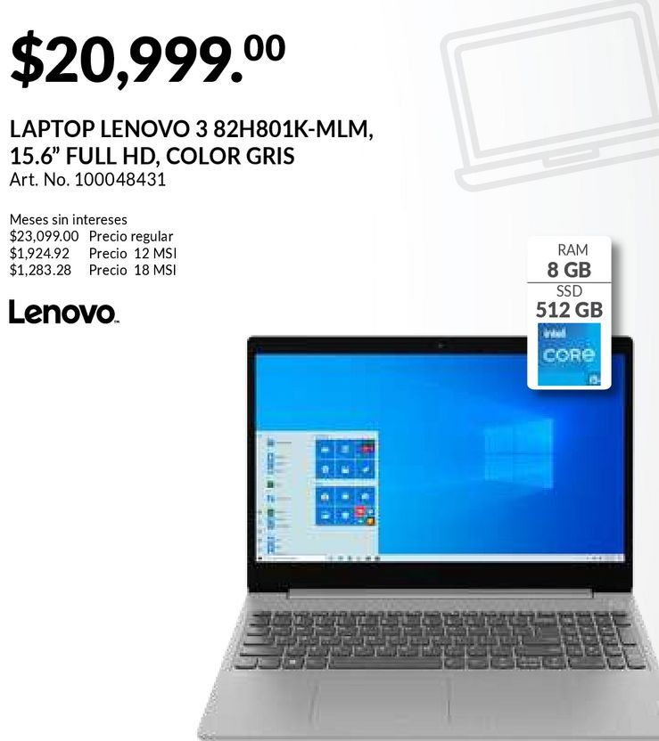Oferta de Laptop Lenovo Ideapad 3 15ITL6 / Intel Core i5 / 15.6 Pulg. / 512gb SSD / 8gb RAM / Gris por $20999