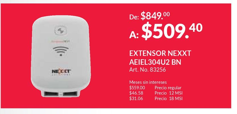 Oferta de REPETIDOR NEXXT KRONOS 301 (INALAMBRICO) por $509.4