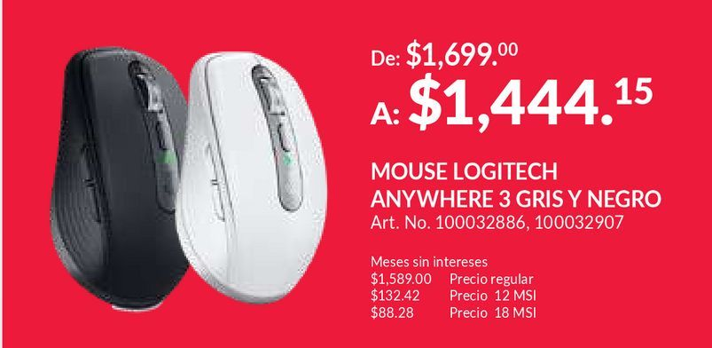 Oferta de Mouse Inalámbrico Logitech M280 / Nano receptor USB / Negro / PC / Laptop por $1444.15