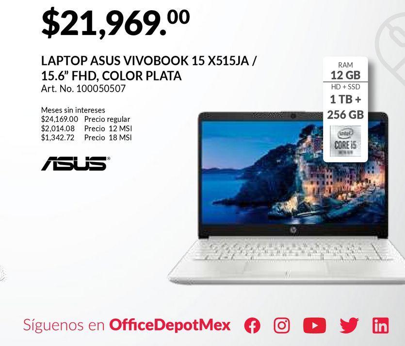 Oferta de Laptop Asus VivoBook 15 X515JA / Intel Core i5 / 15.6 Pulg. / 1tb / 256gb SSD / 12gb RAM / Plata por $21969