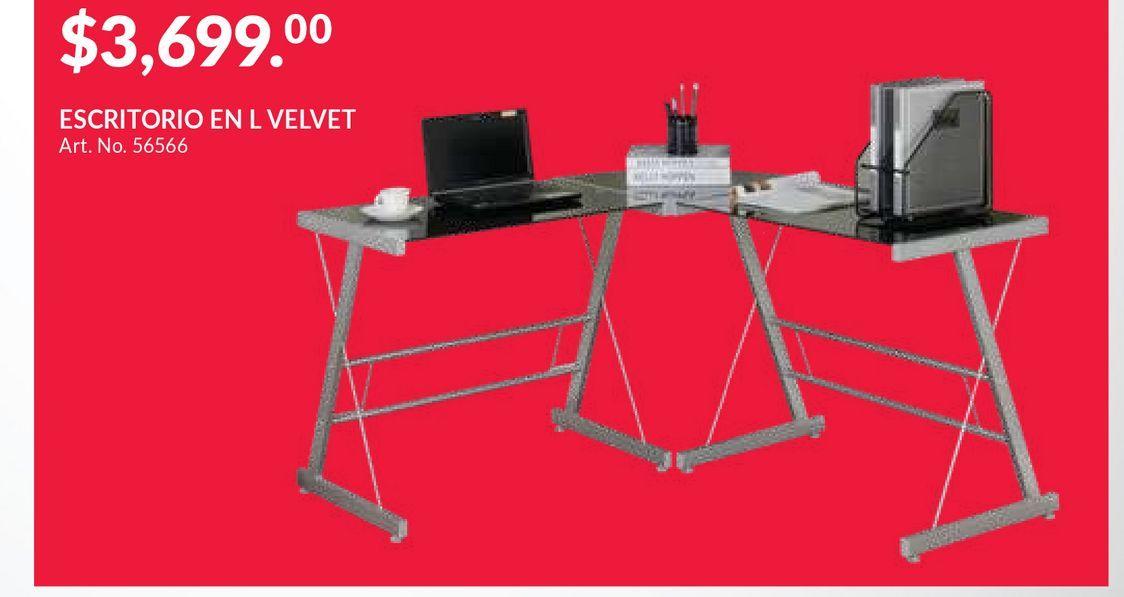 Oferta de Escritorio L Red Top Velvet / Humo / Cristal / Acero por $3699