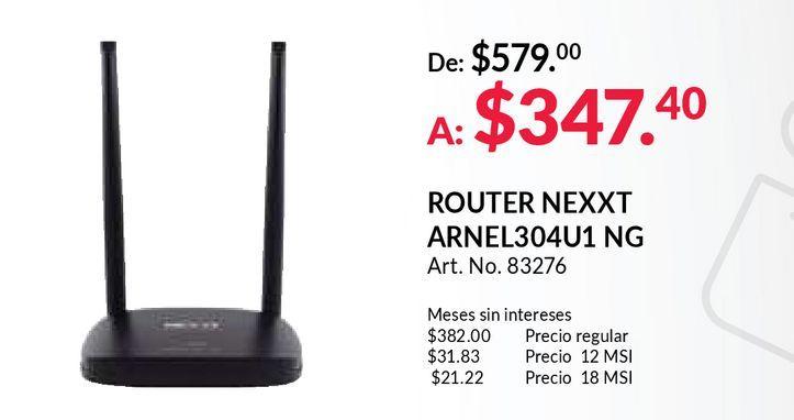 Oferta de Router nexxt arnel por $347.4