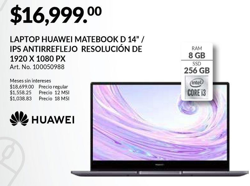 Oferta de Laptop Huawei MateBook D 14 / Intel Core i3 / 14 Pulg. / 256gb SSD / 8gb RAM / Gris por $16999