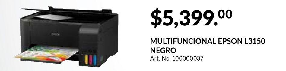 Oferta de Impresora Multifuncional Epson L3150 / Inyección de tinta / Color / WiFi / USB por $5399