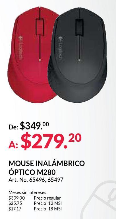 Oferta de Mouse Inalámbrico Logitech M280 / Nano receptor USB / Rojo / PC / Laptop / Mac por $279.2