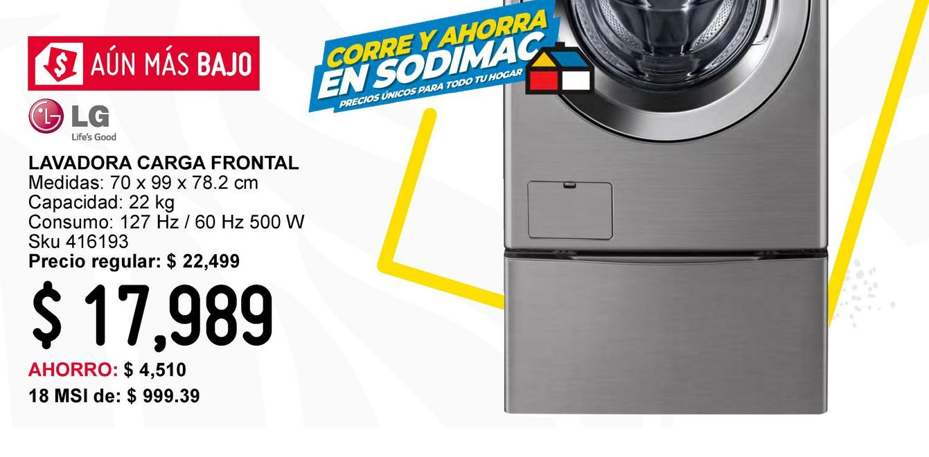 Oferta de Lavadora Carga Frontal con Motor Inverter Direct 22Kg por $17989
