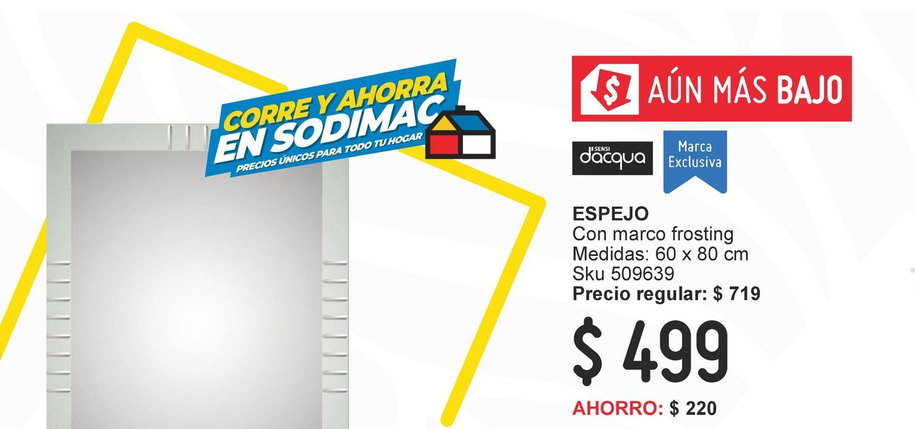 Oferta de Espejo 60x80 cm marco frosting por $499