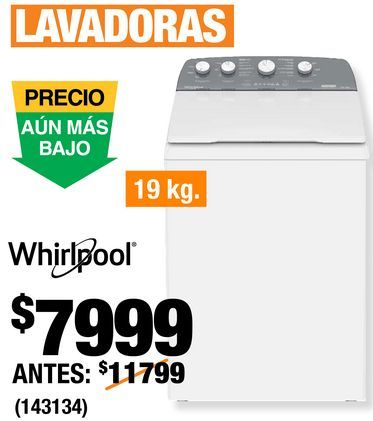 Oferta de Lavadora Whirlpool por $7999