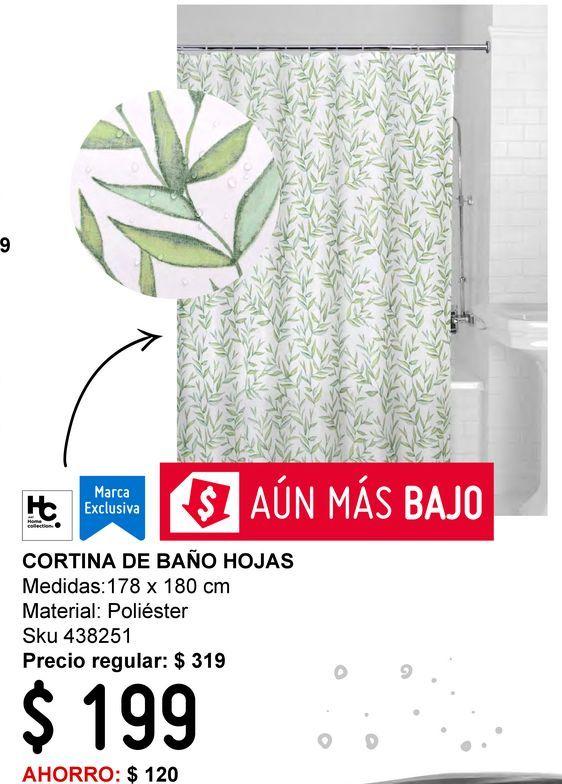 Oferta de Cortina de baño hojas 178x180cm por $199