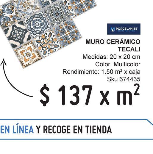 Oferta de Muro 20x20 tecali multicolor por $137