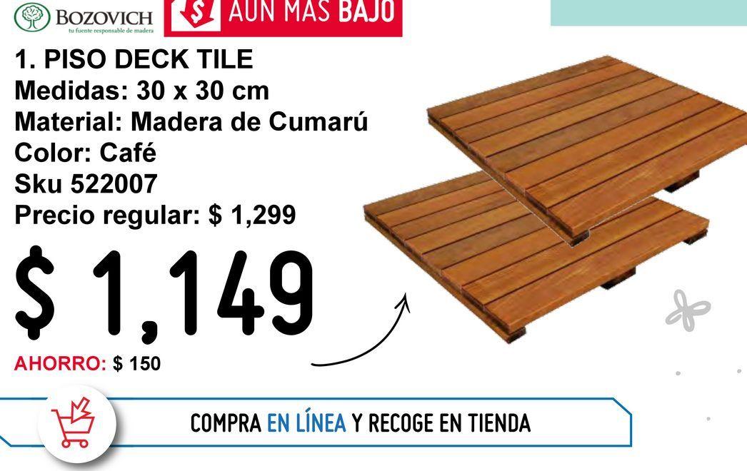 Oferta de Piso deck tile madera de Cumarú 30X30 por $1149