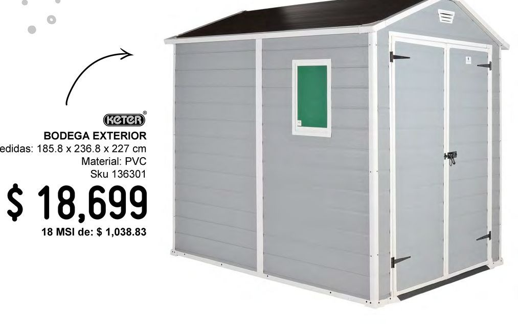 Oferta de Bodega exterior de jardín por $18699