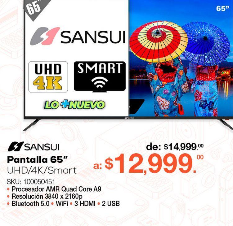 Oferta de Pantalla Sansui SMX65E1UAD / 65 pulgadas / Ultra HD 4k / Smart TV por $12999