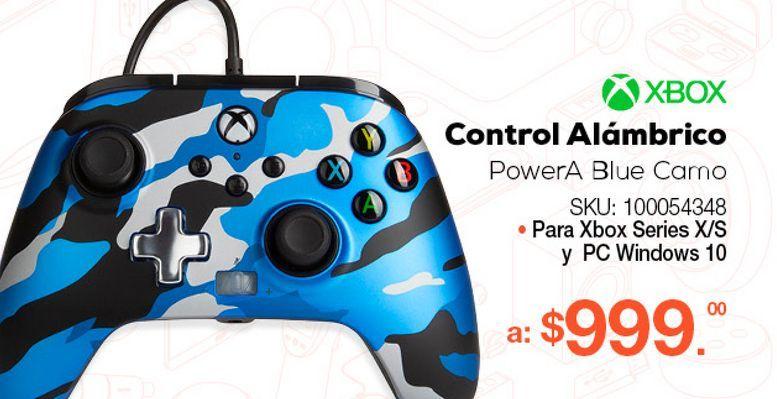 Oferta de Control Alámbrico PowerA Blue Camo / Xbox Series / Azul camuflaje por $999