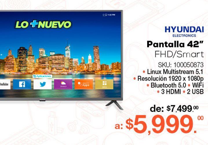 Oferta de Pantalla Hyundai HYLED426NIM / 42 pulgadas / Full HD / Smart TV por $5999