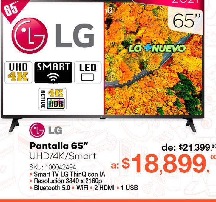 Oferta de Pantalla LG 65UP7500PSF / 65 pulgadas / Ultra HD 4k / Smart TV por $18899