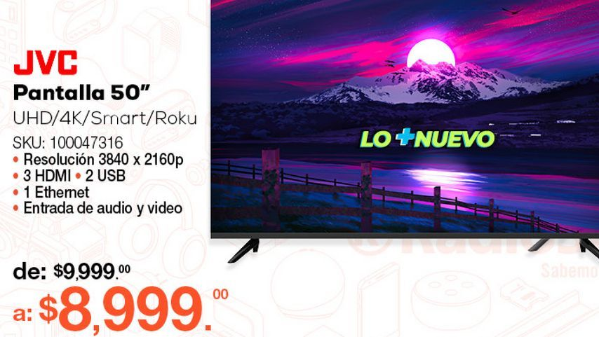 Oferta de Pantalla JVC Roku Frameless SI50URF / 50 pulgadas / Ultra HD 4k / Smart TV por $8999