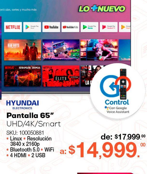 Oferta de Pantalla Hyundai HYLED6507A4KM / 65 pulgadas / Ultra HD 4k / Smart TV por $14999