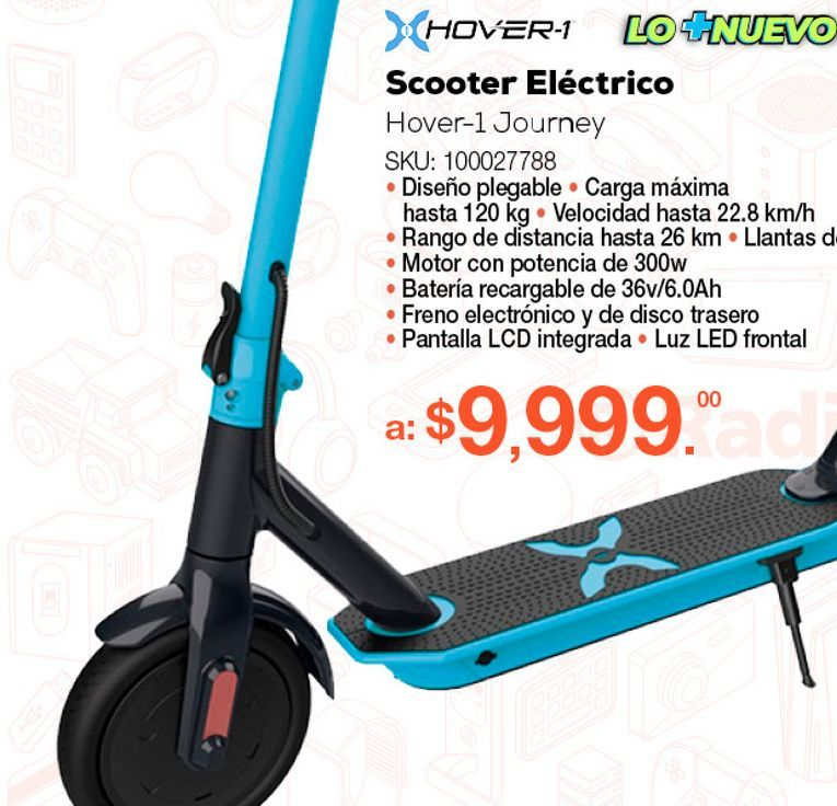 Oferta de SCOOTER ELÉCTRICO HOVER-1 JOURNEY (AZUL) por $9999