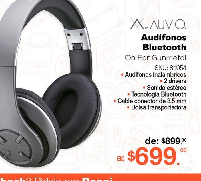 Oferta de Audífonos Bluetooth Auvio Gunmetal / On Ear / Negro por $699
