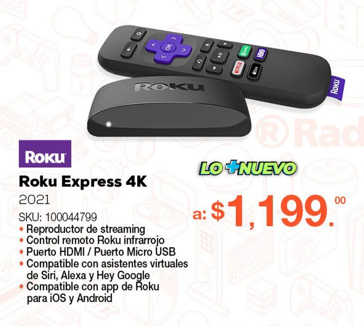 Oferta de Roku Express 4K 2021 / Ultra HD 4k / HDMI / Negro por $1199