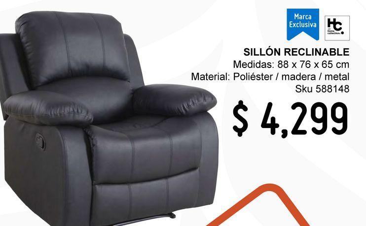 Oferta de Sillon reclinable pu negro por $4299