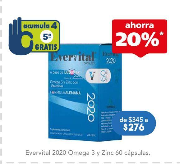 Oferta de EVERVITAL 2020 OMEGA 3 Y ZINC C/60 por $276