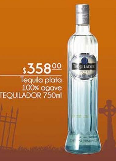Oferta de Tequila plata 100% agave Tequilador  por $358