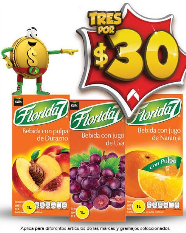 Oferta de Bebidas Florida 7 x 3 por $30