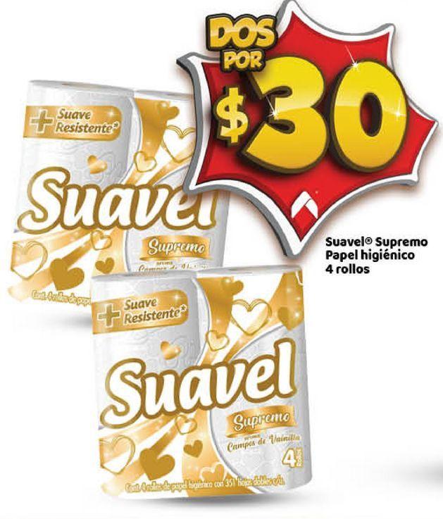 Oferta de Papel Higiénico Suavel 4 rollos x 2 por $30