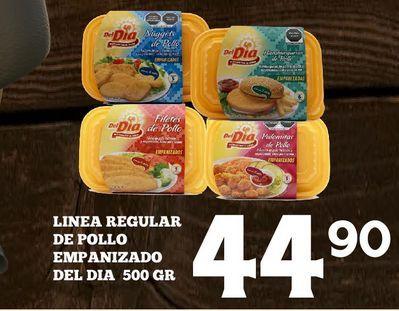 Oferta de Linea regular de pollo empanizado Del Dia por $44.9