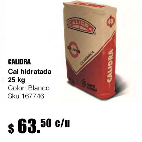 Oferta de Cal hidratada saco 25 kg por $63.5