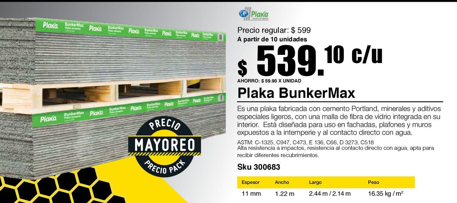 "Oferta de Panel cemento 1/2"" bunkermax por $539.1"