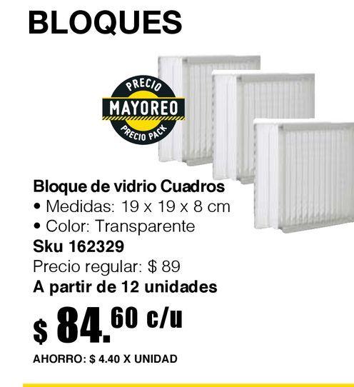 Oferta de Bloque vidrio cuadros 19 cm x 19 cm x 8 cm por $84.6