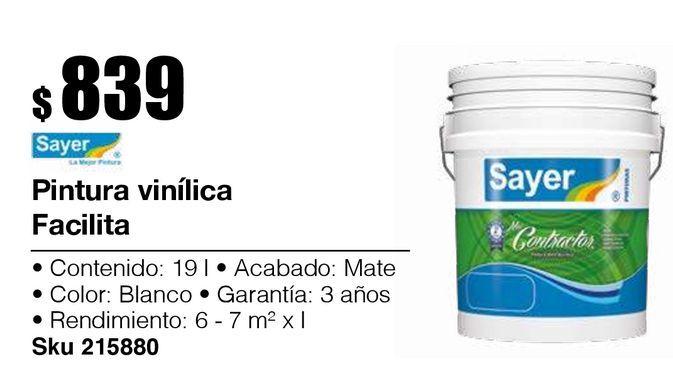 Oferta de Pintura Vinílica Facilita Blanco 19L por $839