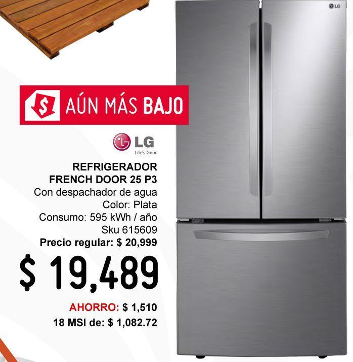 Oferta de Refrigerador LG French Door 25 Pies Silver LM65BGSK por $19489